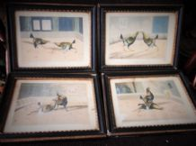 4 ANTIQUE TINTED FRAMED ANTIQUE PRINTS COCK FIGHTING HENRY ALKEN ENGRAVED STOCK